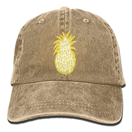 Suaop A Pineapple A Day Keeps The Worries Away Unisex Vintage Washed Distressed Cotton Hat Visor Baseball Cap Polo Style Natural