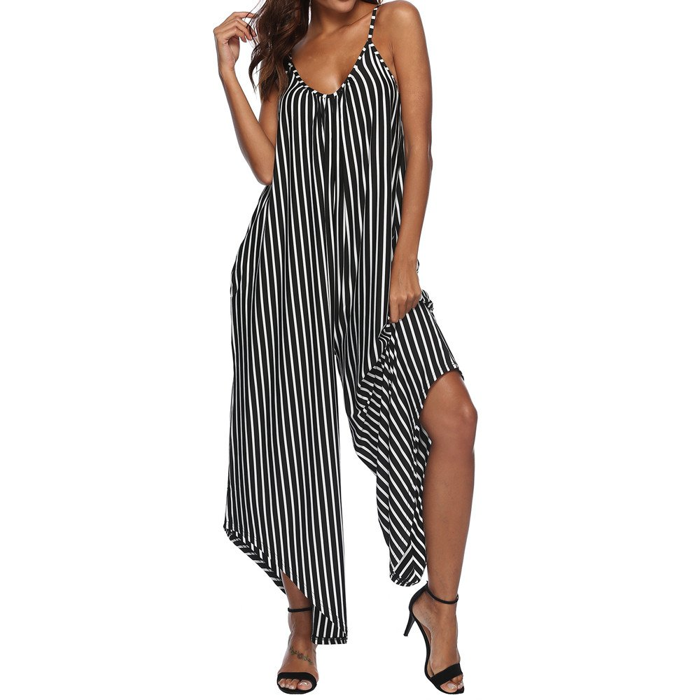 HHei_K Womens Sexy Stripe Camisole Vest Sleeveless Curved Hem Wide Leg Pocket Sling Jumpsuits Playsuits by HHei_K (Image #1)