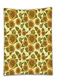 Chaoran Tablecloth Sunflower Decor Set by Funky Style Sunflower in Pastel Colors Old-Fashioned Nostalgic Vintage Art Print Bathroom Accessories Extralong Green Yellow Holiday Home Decorative