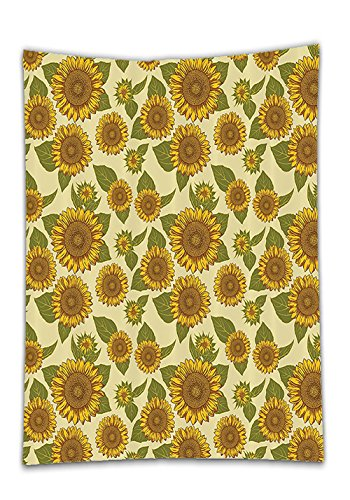 Chaoran Tablecloth Sunflower Decor Set by Funky Style Sunflower in Pastel Colors Old-Fashioned Nostalgic Vintage Art Print Bathroom Accessories Extralong Green Yellow Holiday Home Decorative by