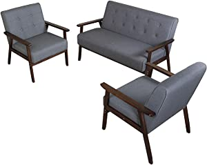 JIASTING Mid Century 1 Loveseat Sofa and 2 Accent Chairs Set Modern Wood Arm Couch and Chair Living Room Furniture Sets (8428 Grey Set)