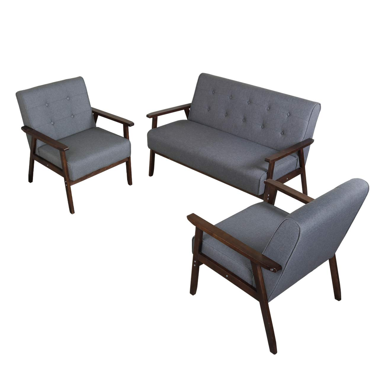 JIASTING Mid Century 1 Loveseat Sofa and 2 Accent Chairs Set Modern Wood Arm Couch and Chair Living Room Furniture Sets (8428 Grey Set) by JIASTING