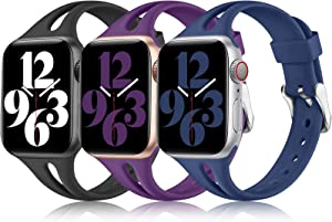 Laffav Compatible with Apple Watch Bands 40mm 38mm iWatch Band SE & Series 6 5 4 3 2 1 for Womens Girl, Cute Stylish Water Resistant Silicone Sport Strap 3 Pack, Black/Purple/Navy Blue 38mm/40mm S/M