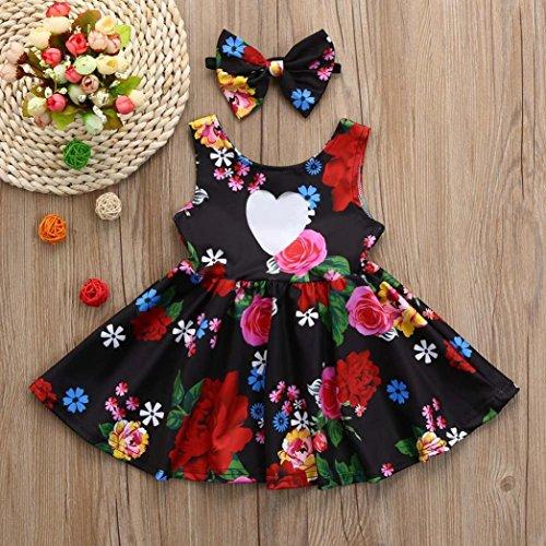 be5fab5fd1 Falda Chicas ropa bebé niña infantil Vestido de Princesa Bowknot floral  Trajes de vestidos de fiesta