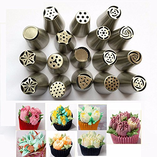[17Pcs Russian Tulip stainless steel Nozzles birthday Cake Cupcake Decorating Icing Piping Nozzles Rose Flower Cream Pastry] (Different Types Zombie Costumes)