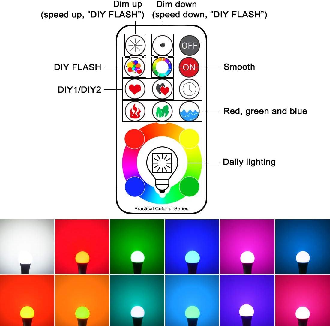 Edison Screw 6500K Lot de 1 3/ème g/én/ération Timing et Dimmable RGB+lumi/ère du Jour Blanc Jayool 10W E27 120 Couleurs LED RGBW Ampoule Changement de Couleur T/él/écommande