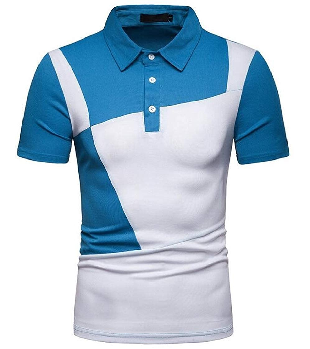 Nanquan Men Summer Splicing Over Size Colorblock Short Sleeve Polo Shirt