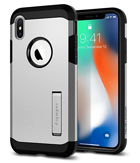 best website 85e55 73171 Spigen Tough Armor Designed for Apple iPhone Xs Case (2018) / Designed for  Apple iPhone X Case (2017) - Satin Silver