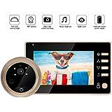 Door Viewer Peephole, 4.3 inch 1MP HD Video Doorbell Digital Door Peephole Viewer Camera Smart Door Visual Intercom with Night Vision Function for Home Security, Various Music Ringtones