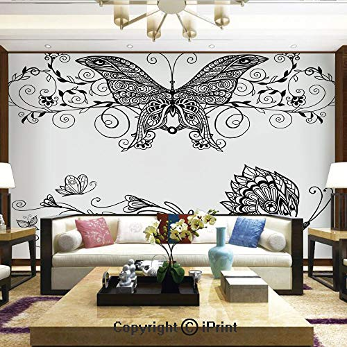 Wallpaper Nature Poster Art Photo Decor Wall Mural for Living Room,Butterfly with Floral Mandala Pattern Bohemian Decorations Butterfly Wings,Home Decor - 100x144 inches (Revolution Bohemian)