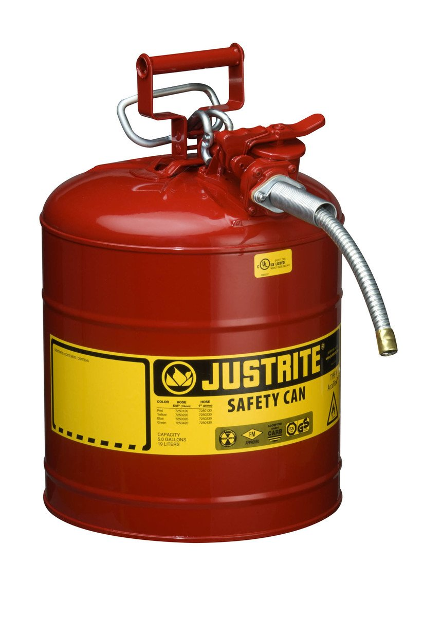 JUSTRITE 7250120 AccuFlow Safety Can, Type II, 5gal, Red, 5/8'' Hose