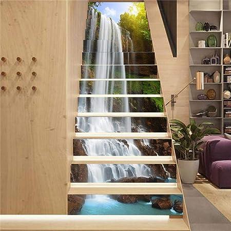 Cestbon 13 Piezas Escaleras Pegatinas, 3D DIY Wall Auto Adhesiva Decoración del hogar Pegatinas Removibles para Escalera,Natural: Amazon.es: Hogar