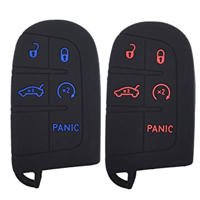 A Pair Black Rubber (Red&Blue Buttons) Key Case Cover Jacket Silicone Rubber Fob Keyless Remote Holder Skin fit for JEEP FIAT DODGE Smart Remote Key Case: Automotive