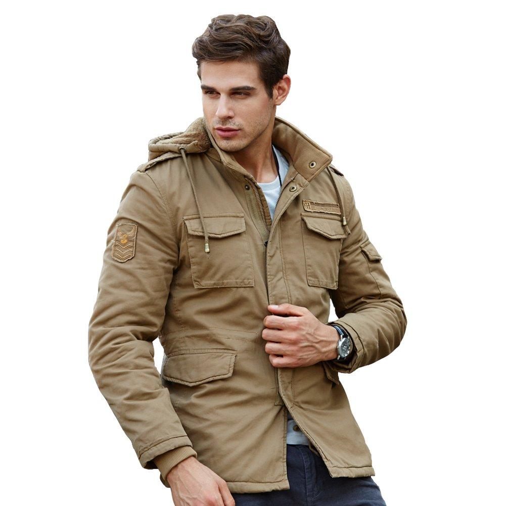 URBANFIND Men's Hooded Fleece Winter Coat Classic Fashion Cotton Jacket Men Winter Coat 01013