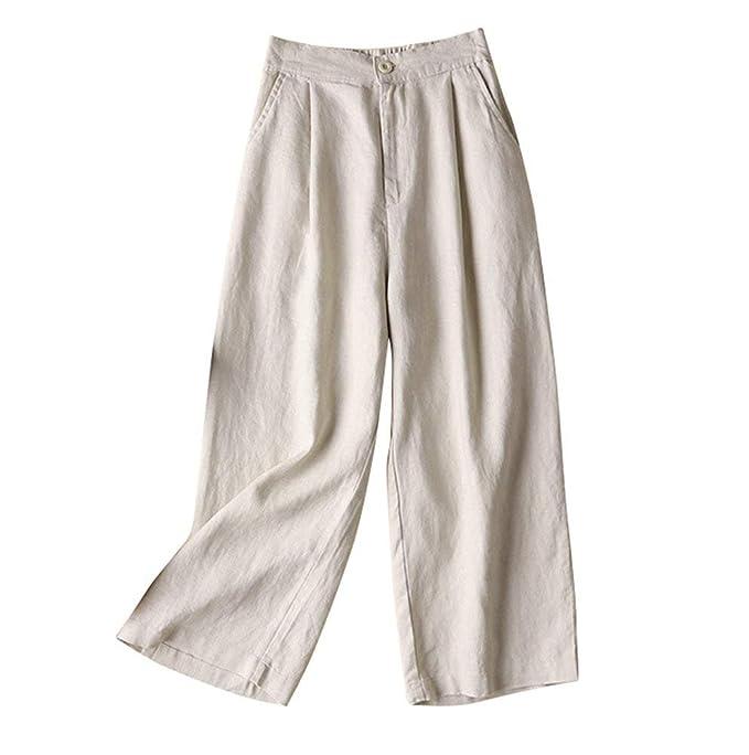 cdcc94b76 Mujer Pantalones Pantalones Verano Pantalon Lino Pantalones De Tiempo Libre Pantalones  Anchos Elegantes Anchos Fashion Joven Bastante Talla Grande Fino ...