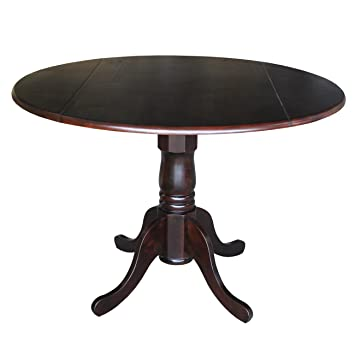 International Concepts Round Dual Drop Leaf Pedestal Table  42 Inch. Amazon com  International Concepts Round Dual Drop Leaf Pedestal