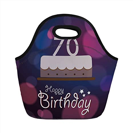 Neoprene Lunch Bag70th Birthday DecorationsCartoon Style Party Cake Abstract Backdrop Image