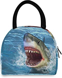 Firce Shark Attack Lunch Bag for Women Reusable Tote Bag Cooler Insulated Lunch Box for School Office Picnic Kids Adults Children