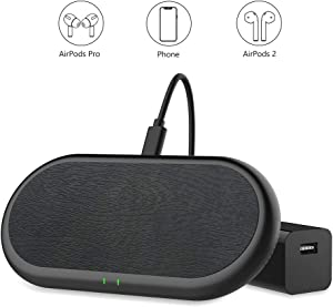 Yootech Dual Fast Wireless Charger, [PU Leather][Full Coverage Charging Area] 5 Coils 20W Max Wireless Charging Pad, Compatible with iPhone SE 2020/11 Pro,Galaxy S20/S10,AirPods Pro(Adapter Included)