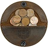 Rustic Leather Moon Coin Case Handmade by Hide & Drink :: Bourbon Brown