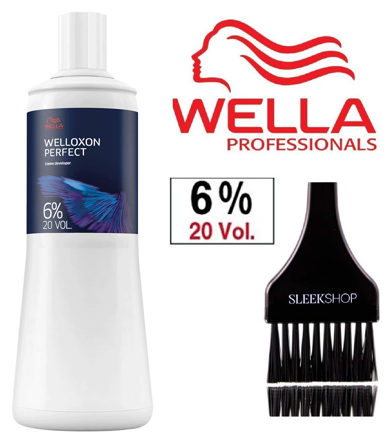 Wella KOLESTON PERFECT Cream Developer (with Sleek Tint Brush) (20 Volume/6% - 33.8 oz liter) by Wella