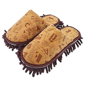 Selric® Letra del alfabeto Zapatillas Mopa Café, Zapatos Desmontables y Lavables Para Mujer, Casa zapatillas de interior estar 26cm [tamaño EU:40-41]: ...