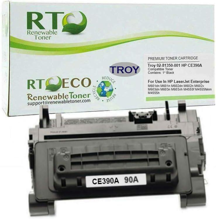 Renewable Toner Compatible MICR Toner Cartridge Replacement for Troy 02-81350-001 HP CE390A 90A Laserjet 601 602 603 4555