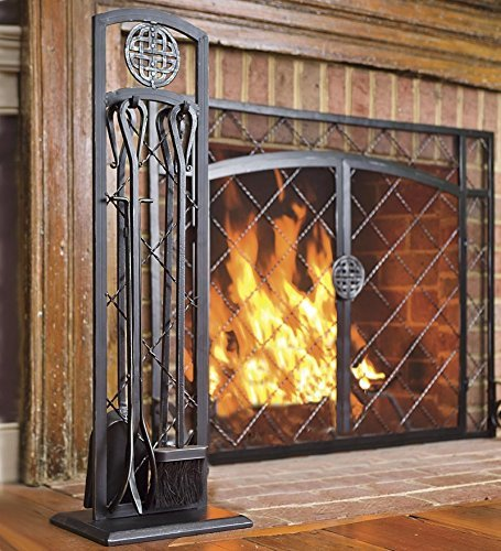 Celtic Knot 5 Piece Fireplace Tool Set, Steel Construction, Includes Stand, Poker, Shovel, Broom, and Tongs 10-Inch Sq. x 29 H Black Finish