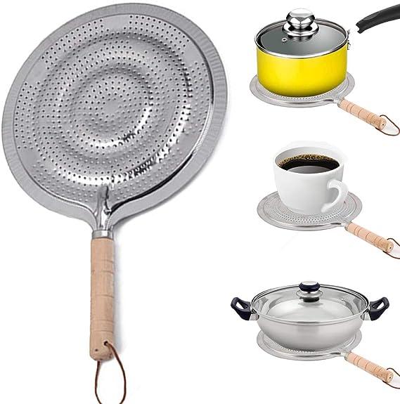 Difusor de calor, anillo de cocción eléctrica, difusor de calor con mango de madera para cocinas eléctricas de gas, 21 cm (plata)