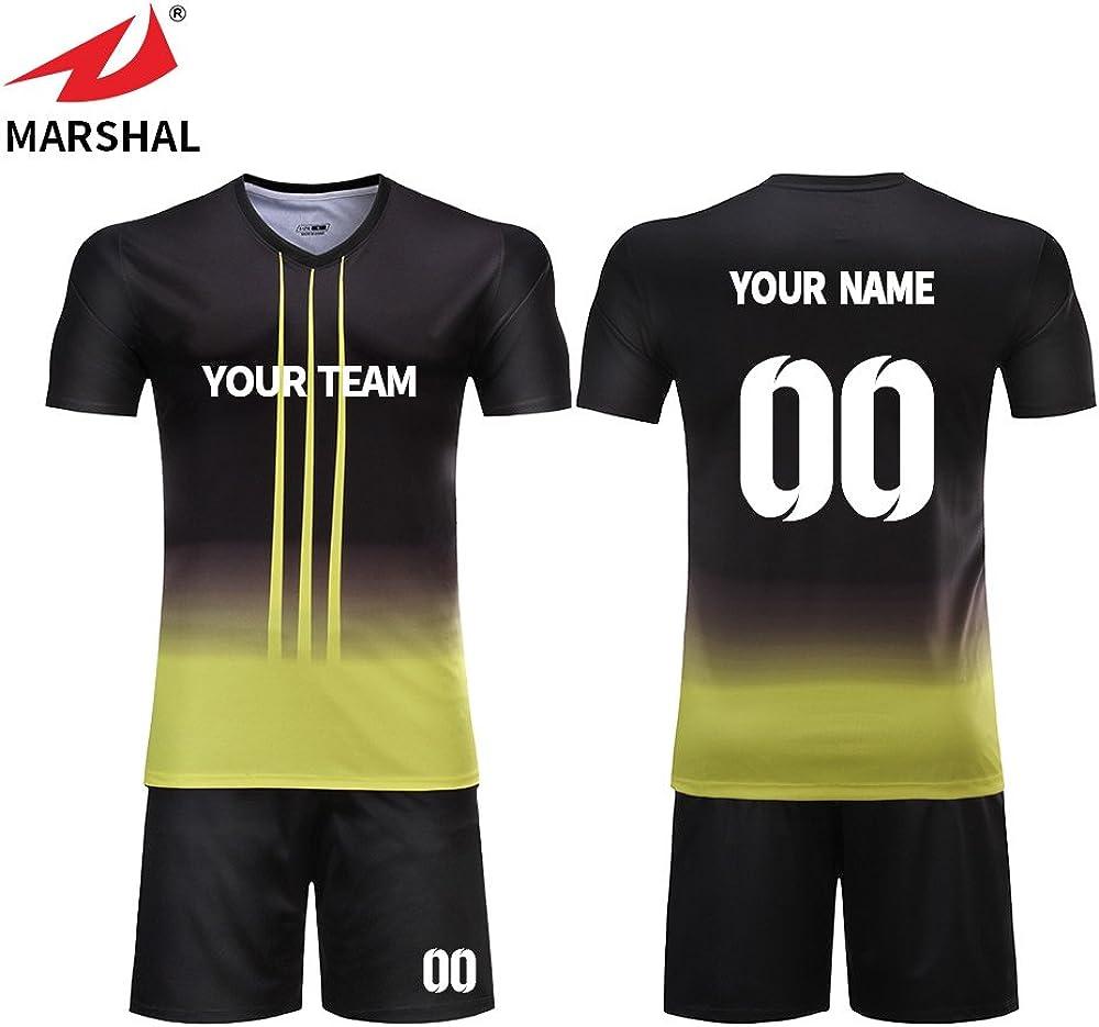 Zhouka Mens Yellow With Black Football Jerseys Custom Shirts Youth Futbol Kit Soccer Uniforms Amazon Co Uk Clothing