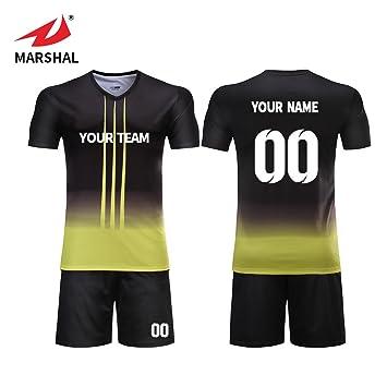 5230cc580 ZHOUKA Mens yellow with black football jerseys custom shirts youth futbol kit  soccer uniforms (S