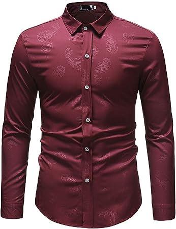 Weentop Camisas para Hombres Regular Fit Camisa con Forro Oscuro para Hombre Camiseta de Manga Larga Base de Gran tamaño Top (Color : Vino Rojo, tamaño : S): Amazon.es: Hogar
