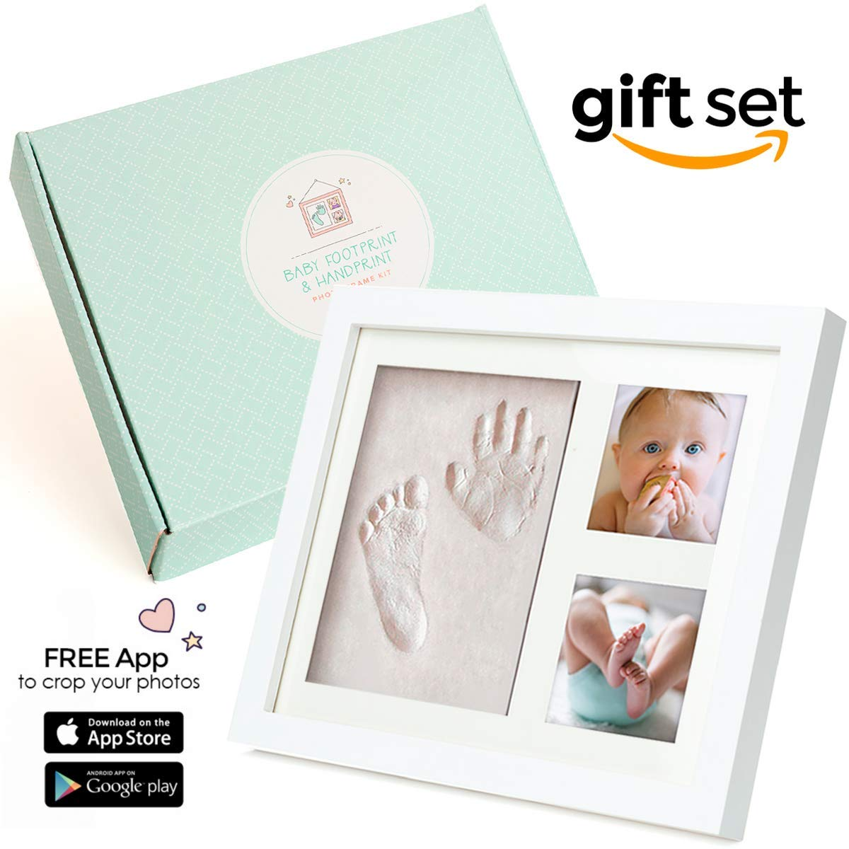 Baby Footprint and Handprint Photo Frame Kit | Gift Set Ideal for Registry for Baby Shower | Hassle-Free Picture cropping with Our Photo App | Clay to Stamp Girl or boy Babies Hand in a Cute Keepsake