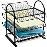 MyGift Metal Chicken Wire Office Document File Organizer with 3-Tier Sliding Trays