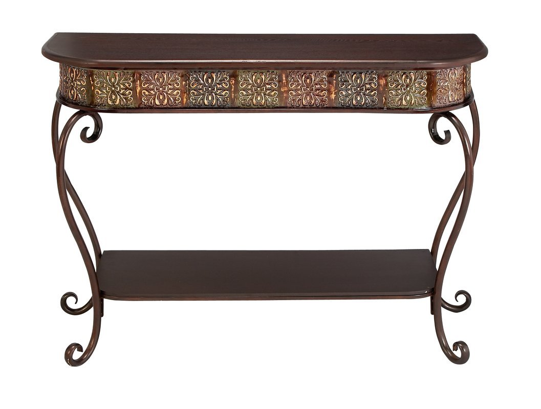 Traditional Vintage Scrolled Accent Console Table in Dark Merlot