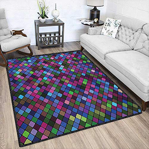 Checkered Polyester Fiber Area Rugs,Little Squares with Vibrant Colors in Diagonal Order Mosaic of Pixel Pattern for Residential or Commercial Use Multicolor 79