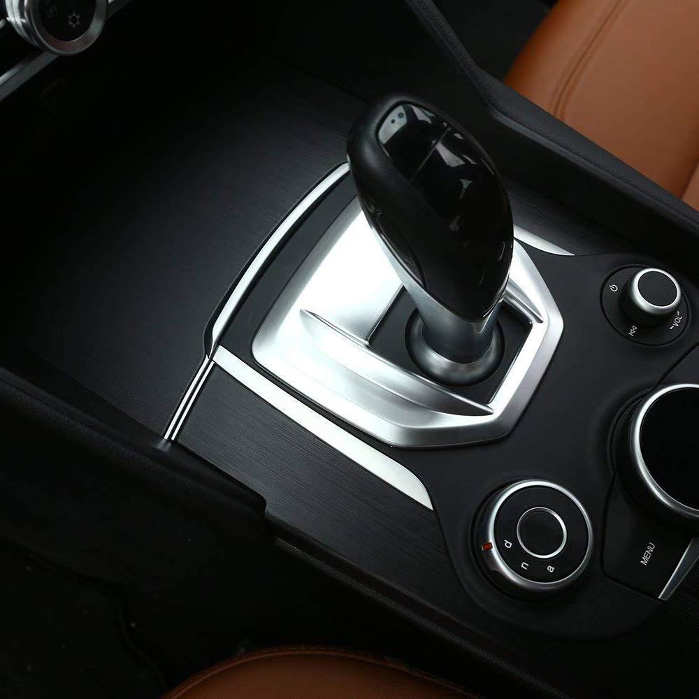 for Stelvio 2017 2018 ABS Plastic Center Console Gear Shift Panel Cover Trim Accessories Matte Silver for Alfa Romeo Giulia 2017 2018