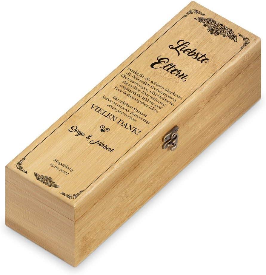 Weinset aus Bambus 36x11x11,5cm Braun 4er Weinzubeh/ör Aufdruck Geschenk zur Hochzeit Murrano Wein Geschenkbox f/ür 0,7L Weinflasche Auf gemeinsame Abende