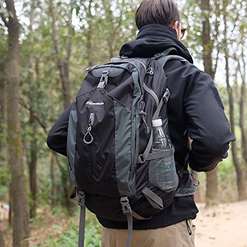 OutdoorMaster Hiking Backpack 50L – Weekend Pack w/Waterproof Rain Cover & Laptop Compartment – for Camping, Travel, Hiking (Black/Grey)