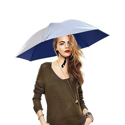 aimdonr Pesca de paraguas de sombrero, faltende Sun de lluvia de tapa, ajustable,