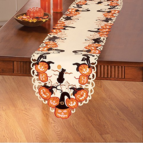 Halloween Table Runners (Cat and Pumpkins Halloween Table Linens, Runner)