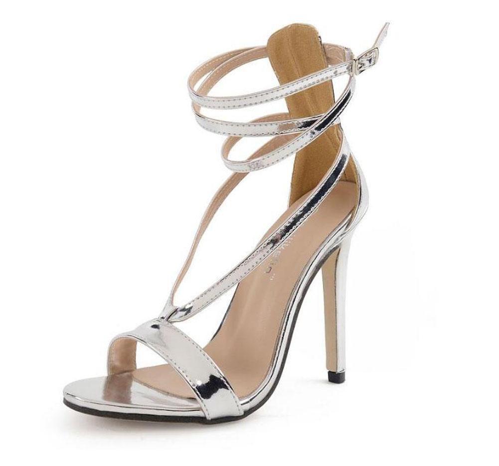 GLTER Mujeres Ankle Strap Bombas Popular Plata de tacón alto cruzado Sandalias Hollow zapatos de mujer encantadora zapatos de corte Plata Cone Heel Shoes , silver , 35 35|silver