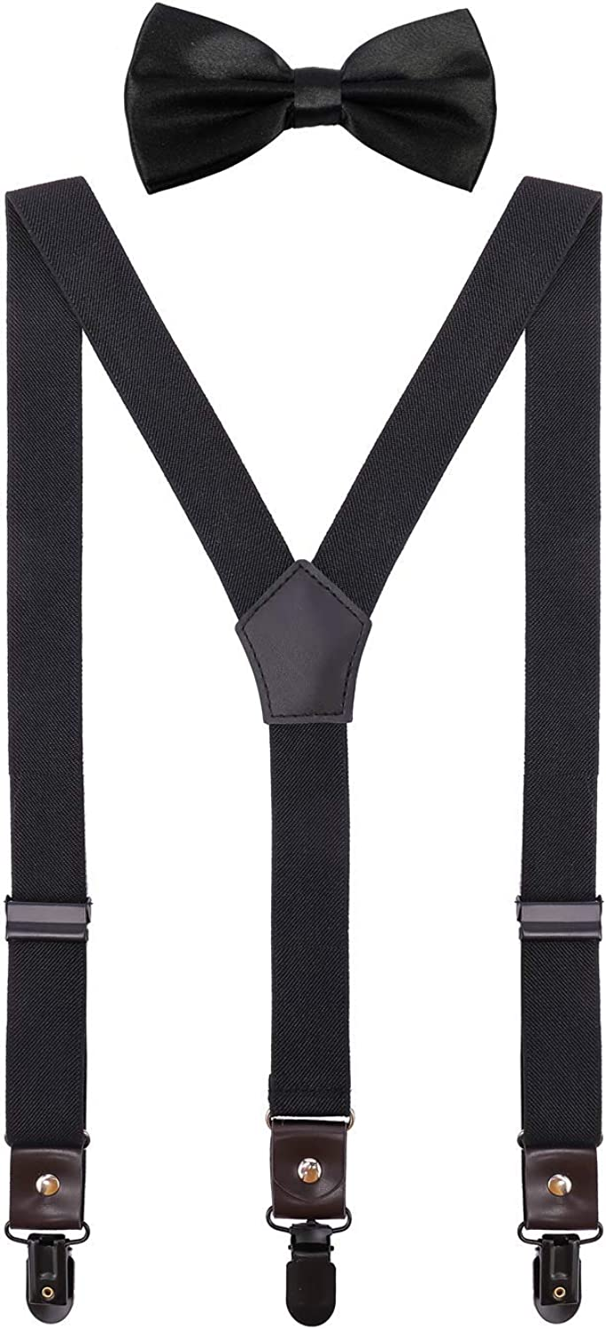 ORSKY Men Boys Suspenders and Bow Tie Adjustable with Copper Clips