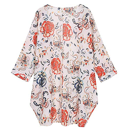 De Chaqueta Kimono Otoño Jerséis Larga Mujer Cárdigans Casual Manga Outerwear Abrigo Primavera Cardigan Con Jersey Para Splicing Blanco Luckycat Outdoor Estampada Tops ZATwHqw