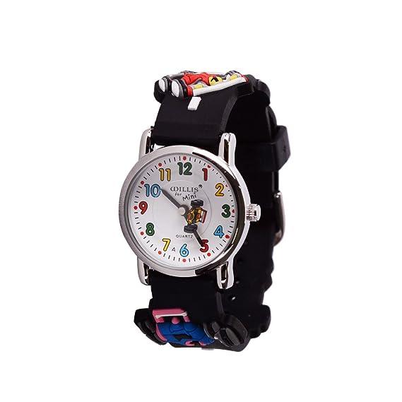 Wolfteeth Jóvenes Niños Pequeños Niños Niños Enfriar Reloj Reloj Maestro, Personaje De Dibujos Animados 3D Racing Negro Banda De Reloj 303603: Amazon.es: ...