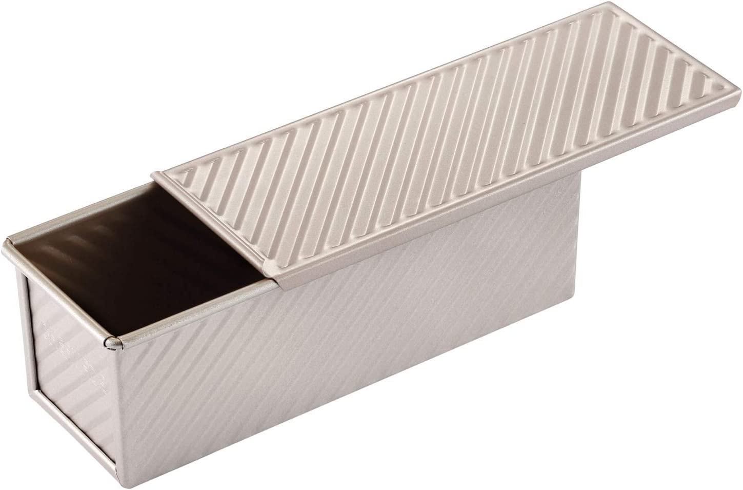 """CHEFMADE Mini Pullman Loaf Pan with Lip, 0.66Lb Dough Capacity Non-stick Rectangle Corrugated Toast Box, FDA Approved for Oven Baking 2.8"""" x 8.1""""x 2.8""""(Champagne Gold)"""