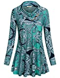 Long T Shirt for Women, Miusey Ladies Cowl Neck Blouses Long Sleeve Tunic Plus Size Knitted Daily Wear Lightweight Soft Maternity Waterfall Drapey Flattering Tops for Juniors Paisley Blue Xl