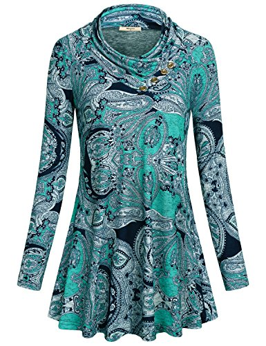 Miusey Cowl Neck Sweatshirt for Women, Ladies Long Sleeve T Shirt Button Embellished Knit Top Jersey Pleat Pullover Cute Clothes Fashion Flowy A-Line Tunic Blouses for Office Paisley Blue M