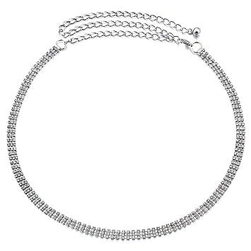 Damen Silber Strass Glitzersteinen Verstellbare Taille Kette Gürtel für Kleid