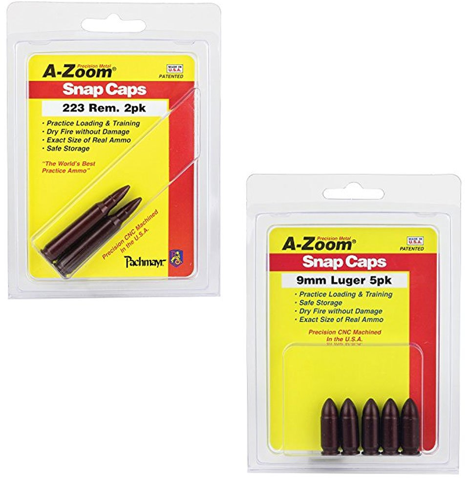 04be71f48f1 Amazon.com   Bundle Includes 2 Items - A-Zoom 9mm Luger Precision Snap Cap  5 Pack and A-Zoom 223 Rem Precision Snap Caps (2 Pack)   Sports   Outdoors